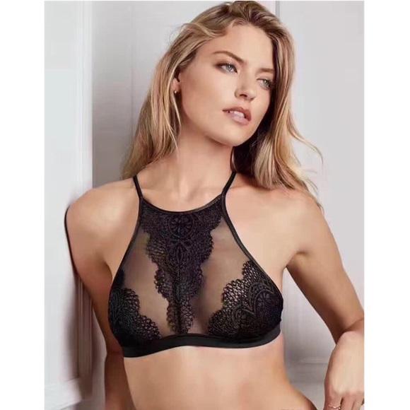 6fcf7425b1e ... Black Crochet Lace Halter Bralette. M 5b7d011734e48a307a5d5a84